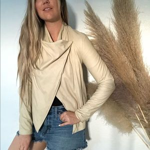 VINCE Cream Tan Leather Ribbed Sweater Jacket S